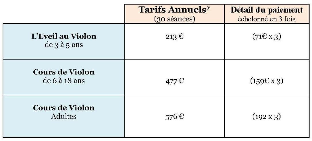 Tarifs Annuels 2018-2019